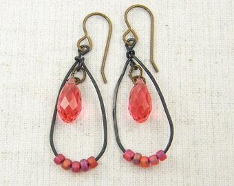 Coral Drop Earrings, Rustic Crystal Teardrop Brass Dangle Earrings