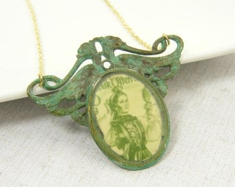 Green Pendant Necklace, Verdigris Necklace, Cameo Necklace, Mixed Media Assemblage Necklace