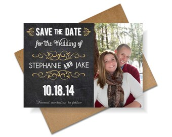 Save the Date Chalkboard Magnet with Photo, 4x6 Save the Date Photo Magnet