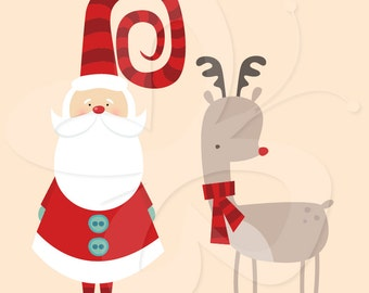 Santa and Rudolph Clip Art Clipart Set - Commercial and Personal use
