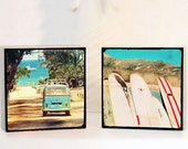 Surf Photography Wood Block, Retro California Surfer Art, Vw Bus Surfboard Photography Set, Beach Photography. Gift For Men