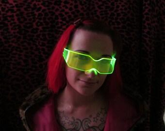 The Original Illuminated Cyber goth visor V2 Acid Green