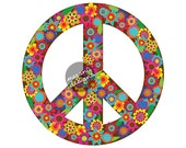 Brown Floral Peace Sign Decal - Colorful Flower Car Decal Peace Symbol Vinyl Bumper Sticker Hippie Teal Turquoise Pink Green Yellow