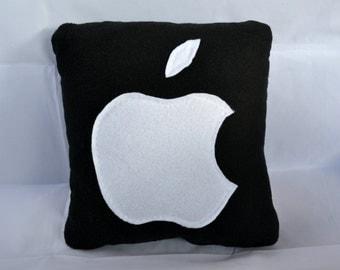 Apple Pillow - Decorative Pillow - Handmade Pillow - 12x12 Black Geekery Pillow - Mac Pillow