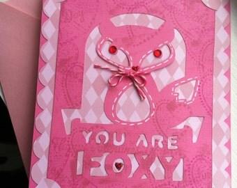 Fox Handmade Love Card, Fox Valentine Card, Fox Love Card, Pink Fox Card, Handmade Fox Card, You are Foxy Card, Fox Valentine