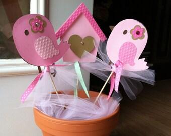 Birdie Centerpiece, Birdhouse Centerpiece, Birdie Birthday Party, Pink Bird Centerpieces, Birdie Baby Shower, Custom Made to Order, 6 pc.