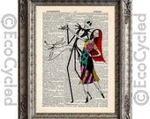 Nightmare Before Christmas 3 Jack Skellington & Sally on Vintage Upcycled Dictionary Art Print Book Art Print Love Romance