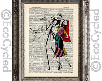 Nightmare Before Christmas 3 Jack Skellington Sally on Vintage Upcycled Dictionary Art Print Book Art Print Love Romance Wedding Anniversary