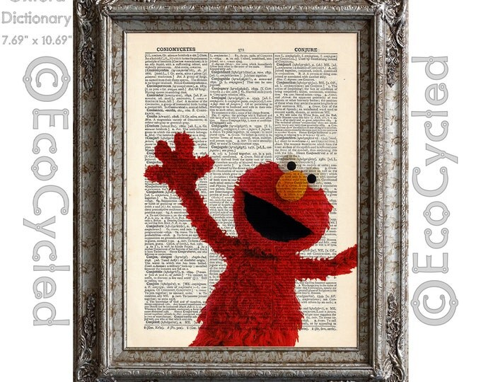 Elmo on Vintage Upcycled Dictionary Art Print Book Art Print Recycled Repurposed Sesame Street bookworm gift