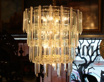 1960's Lucite & Glass Prism Chandelier