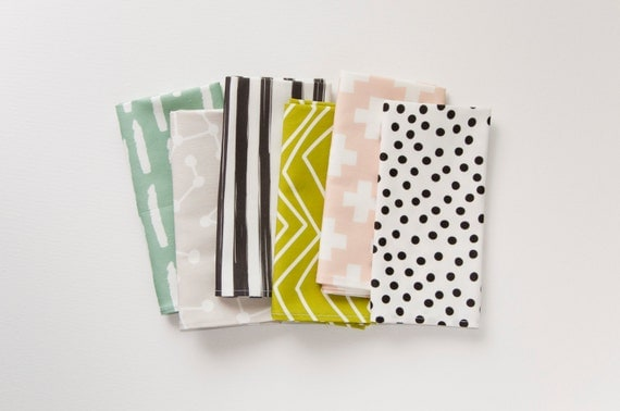 Modern Cloth Dinner Napkin Set of 6 - Assorted Patterns