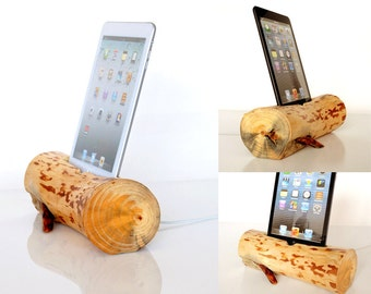 Dock for iPad mini / iPad mini 2 / iPad mini 3 / iPad mini 4 - from log - home decor - office desk accessory - unique natural sculpture