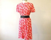 Red 80s Secretary Dress / Floral Dress / Cheap Red Dresses / Secretary Dress Small / LIttle Red Dress