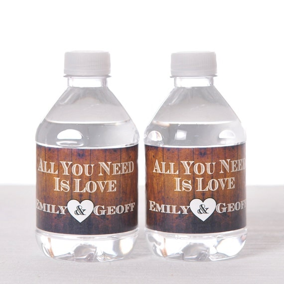 Rustic Wedding Water Bottle Labels