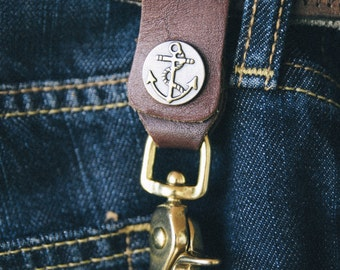 Repurposed leather and brass belt key clip lanyard w/ anchor accents.
