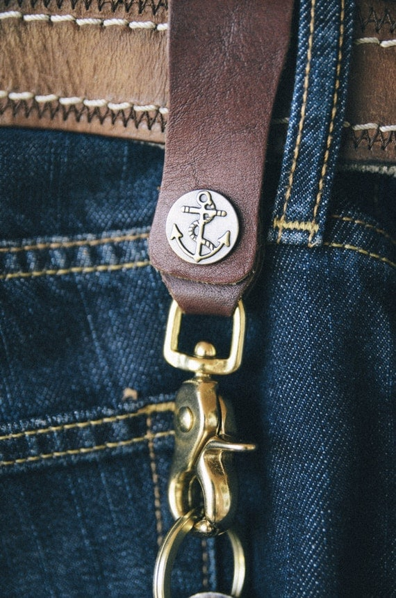 Repurposed leather and brass belt key clip lanyard w anchor Repurposed leather belts
