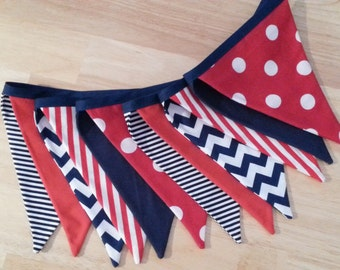 Fabric pennant banner/navy red white/nautical banner/ navy chevron banner/nautical birthday banner