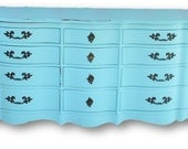 FRENCH PROVINCIAL Dresser 12 drawer dresser/ storage Painted and Distressed in Lady Blue By Foo Foo La La