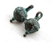 Rustic greek charms, Rhombus, Drop metal charm, round charms, Green patina on copper, Ornament, Lead Free - 2Pc - F146