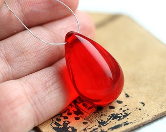 Huge Red Teardrop bead, czech glass, red glass bead, large Briolette, pendant bead - 18x29mm - 1Pc - 1383