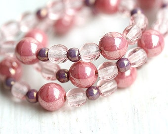 Delicious Pink czech glass beads mix for jewelry making - round spacers, druk, small - approx.90Pc - 0514