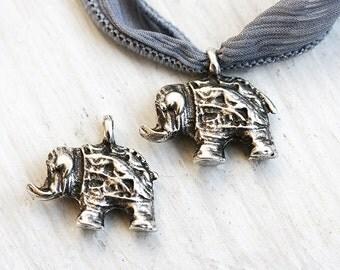 Elephant charm, Antique Silver, Greek casting, Indian charm, Elephant bead, yoga inspired  - 2pc - F022