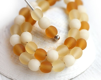 Amber Beige beads mix, czech glass, Matte round spacers, druk - 4mm -  approx.85-90Pc - 1246