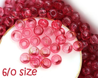 Czech Seed beads, size 6/0 - Fuchsia Pink transparent - large Rocailles, glass beads - 20gr - 1402