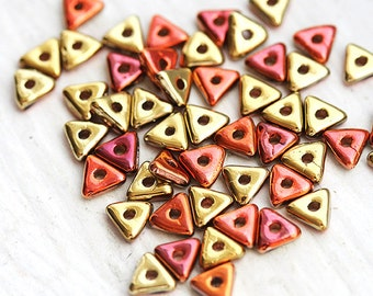 Triangle spacer beads - Gold beads with Copper, two tone mixed color, czech glass, tri-beads, 4mm - 50Pc - 1440