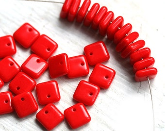 Bright Red Czech glass beads, square spacers for jewelry making, top drilled - 6mm - 30Pc - 0215