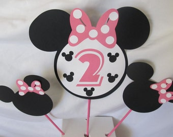Minnie Mouse Party Centerpiece Cake Topper Picks Party Kit 3 pieces