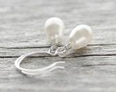 White Pearl Earrings: Teardrop Swarovski Elements with Sterling Silver, Bridesmaid Jewelry, Drop Earrings