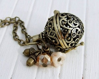 Acorn Ball Necklace .. sphere, orb, woodland necklace