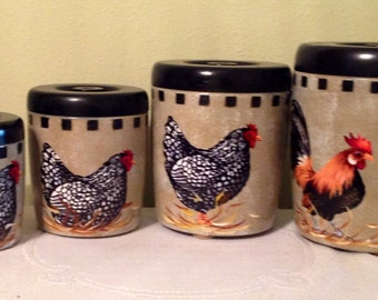 Perfect Rooster Canister Set...4 Piece Vintage Upcycled Canister Set...Kitchen