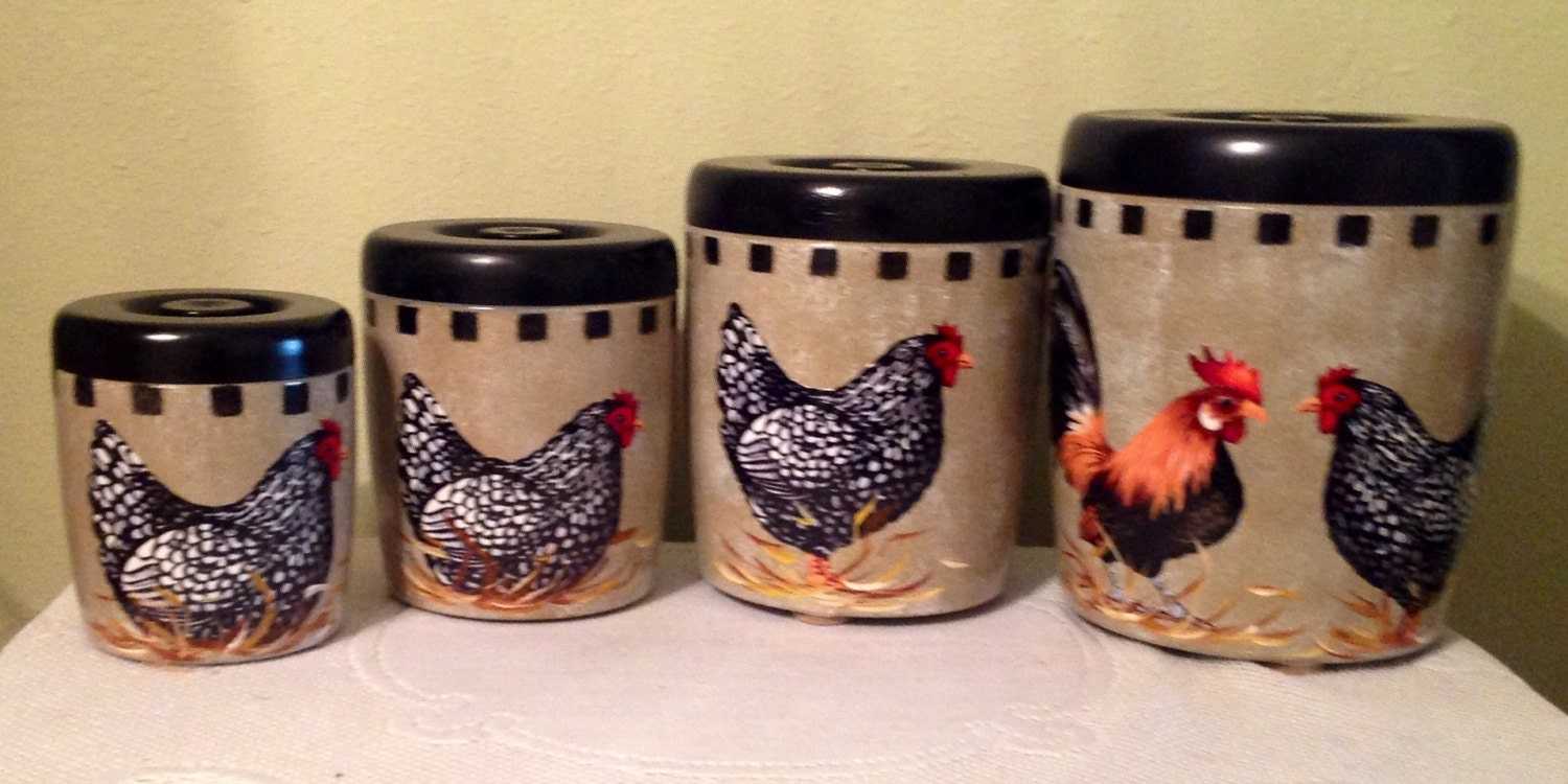 Rooster canister set 4 piece vintage upcycled canister for Kitchen decoration piece
