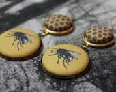 Bee Fabric Button Earrings Honeycomb and Bee Drop Earrings