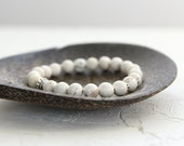 Howlite Bracelet - White Gemstone Jewelry - Stacking and Layering Bracelet - Boho Chic Jewelry - Beaded Stretch Bracelet
