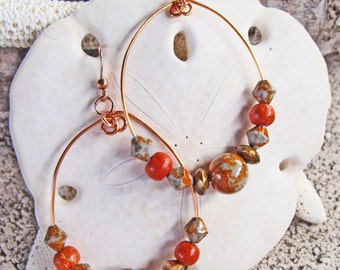 Handmade Copper Teardrop Earrings with Brick, Copper and Shades of Gray Glass Beads