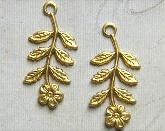 6 pcs., Raw Brass Flower Charm, Bridal Headpiece, Earring Dangle, Raw Brass Stamping, 14mm x 29mm - (r147)