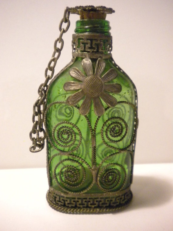 Vintage Mini Emerald Green Glass Bottle Wrapped In Silver