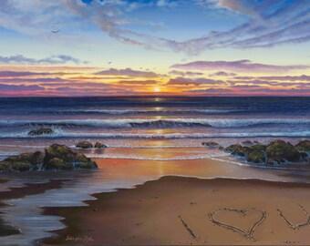 "Ocean Beach Sunset Painting Print ""Love"""