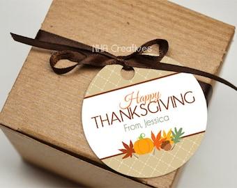Personalized Happy Thanksgiving Favor Tag - DIY Printable Digital File