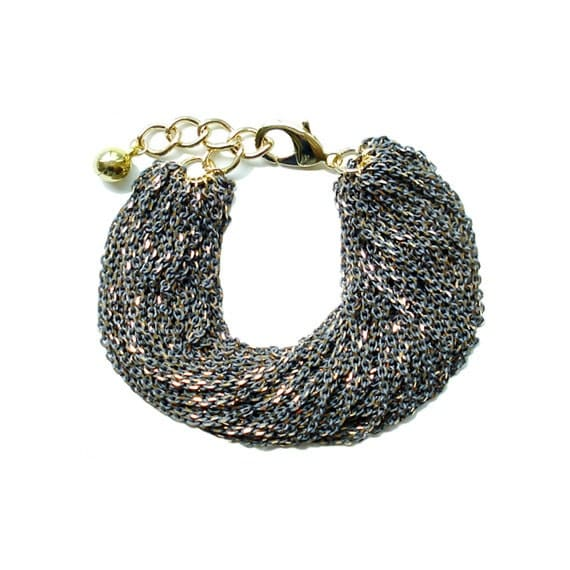 Multi Strand Chic Statement Chain Bracelet - Gray