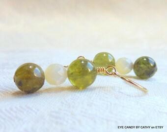 Garnet earrings, green earrings, gold earrings, shell earrings, pearl earrings, green garnet and mother of pearl, gold filled wires