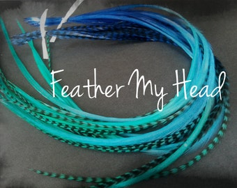 "10 Ombre Tie Dye Fade 2 Tone Multi Colored Feather Hair Extension 9""-12"" Long Grizzly And Solid Tidal Wave"