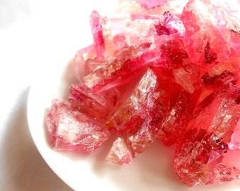 Organic Rose Petals in Pink Champagne Hard Rock Sugar Candy Favors Cake Decoration