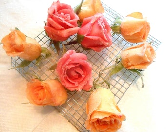 Pastel, Sugared Roses. Cake Toppers, Edible Flowers