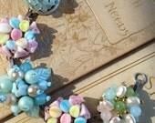 Vintage clip-on earring bracelet, sky blue and pink