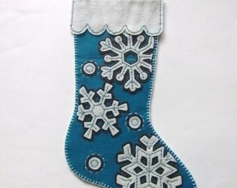 Modern Snowflakes Felt Stocking Handmade from Dimensions Kit