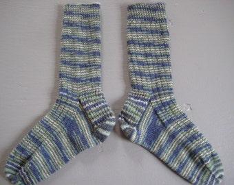 Hand-Knit Blue-Green Wool Socks women's small
